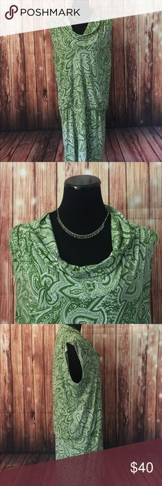 Michael Kors SzXL Floral stretch drop waist dress Gently used Michael Kors floral/paisley print drop waist drawstring dress . Cowl neck short sleeve . Size XL in great condition no signs of wear and tear . Michael Kors Dresses