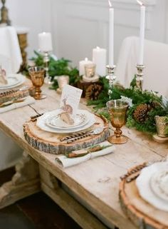 I love this rustic glam table for Christmas!