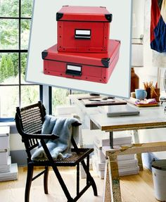 Metal nailheads, label frames, and corners give these cardboard boxes a lasting look. Deskside, they're a stylish solution for organizing loose papers. About $13 and $16 from Amazon.com | Photo: (inset) Alison Rosa | thisoldhouse.com decor, charts, office desks, stuff, maps, craft idea, furnitur, desk pron, home offices