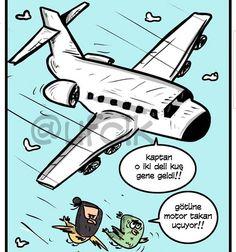 - Kaptan o iki deli kuş gene geldi!! + Götüne motor takan uçuyor!! #karikatür #mizah #matrak #komik #espri #şaka #gırgır #komiksözler