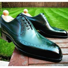 Another sample MTO CALLED the Budapest Swanneck in British Racing Green calf with burnished toes in size EU 44 UK10 and US11D for sale $600…