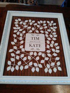 Cherrywood Vinwik Wedding Guest Book Alternative | 100 Signature Spaces | Rustic Wedding | Customer Photo | Wedding Color - White | peachwik.com