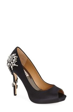 Badgley Mischka Badgley Mischka 'Royal' Crystal Embellished Peeptoe Pump (Women) available at #Nordstrom