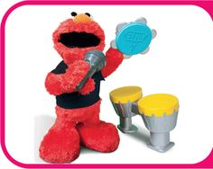 Let's Rock Elmo, 18 Mo+   Everyone loves this furry 3 year old monster!  Elmo takes the stage singing and making music, and preschoolers can too! Elmo comes with his very own microphone, tambourine, and drum set, and magically recognizes which one you give him. Kids can play along!