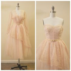 Vintage Bridal or Party 1950's Pale Pink / Beige Lace and Tulle Peplum Dress with matching belt and jacket