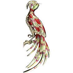 "1940s BOUCHER Phrygian Cap Rhinestone Metallic Enamel ""JAY"" Bird Figural Brooch Pin ~Book Piece"