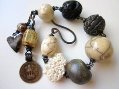 Dead of Winter - primitive assemblage monochrome black and white, art beads, sea coral, lava, pearl, vintage coin, & copper charm bracelet by LoveRoot, $69.00