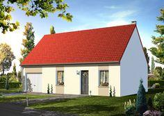 Modèle ISERAN  Pavillon avec garage comprenant cuisine ouverte sur le séjour, salle de bains, WC, 1 chambre au rez-de-chaussée. 2 chambres à l'étage.   Surface habitable : 71,94m².
