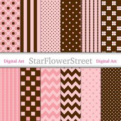 Instant Download - Peachy Pink & Brown Digital Paper - peach pink chocolate brown polka dot chevron flower striped scrapbook