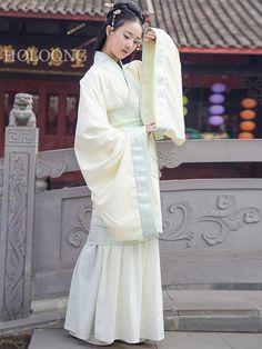 White Curved hem Hanfu Women Clothing
