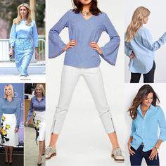 Ett av dom mest klassiska plaggen i din garderob är garanterat den blå skjortan. Till vänster ser vi #ivankatrump -s blåa skjortor. Till höger ovan ser vi en blå skjorta från #ginatricot och en från #bonprix nedan. Den i mitten är en kreation från #rickcardona och just nu säljs på #nellasshop för endast 99kr😘 Gina Tricot, Ivanka Trump, Capri Pants, Jumpsuit, Blouse, Long Sleeve, Sleeves, Shopping, Fashion