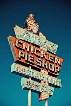 La Palma Chicken Pie Shop Neon Sign - Retro Kitchen Decor - Blue Red and White - Retro Home Decor - Typography - Fine Art Photography