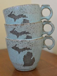This is a hand carved MICHIGAN ceramic mugs / cups! Great for a cup of your favorite tea, hot cocoa or coffee! And the best part is they are
