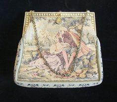 Victorian Petit Point Purse Antique 1900s Tapestry Purse