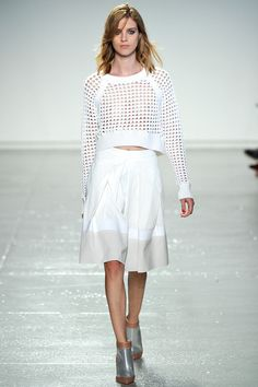 Julia in the White Mesh Crop Sweater and White Full Skirt #SS14