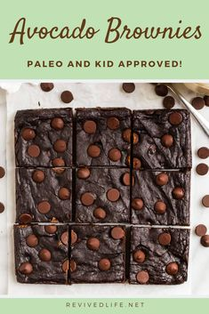 """Need a new way to sneak super foods into your kids' diet? Try these Paleo Avocado Brownies! They're rich and gooey just like """"regular"""" brownies. Slow Carb Recipes, Best Paleo Recipes, Whole 30 Recipes, Delicious Recipes, Real Food Recipes, Yummy Food, Paleo Brownies, Avocado Brownies, Kids Diet"""