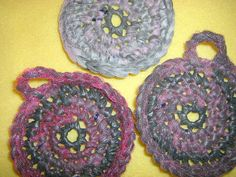 Pink and Grey Plarn Dish Scrubbies set of 3 by plarnstar on Etsy