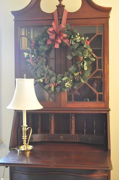 The Secretary Desk is The Perfect Small Office Space Solution l Dorm Furniture l Apartment Furniture l DIY l Small Office l Home Office l Organization Christmas Traditions, Christmas Presents, Christmas Home, Christmas Holidays, Christmas Wreaths, Christmas Crafts, Merry Christmas, Christmas Decorations, Christmas Scenes
