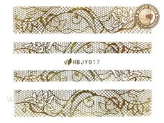 HBJY017 Gold Lace Nail Sticker Nail Art - 1 pc
