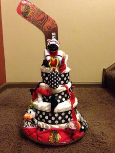 Blackhawks diaper cake