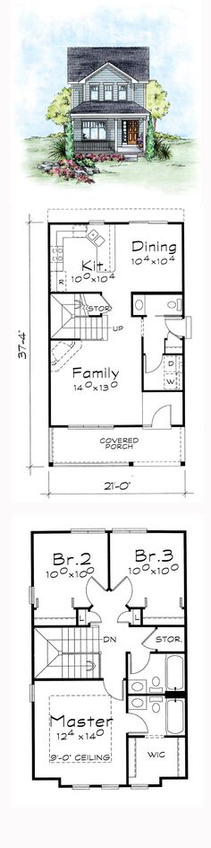Narrow Lot House Plan   Total Living Area: 1297 sq. ft., 3 bedrooms and 2.5 bathrooms. #narrowlothome