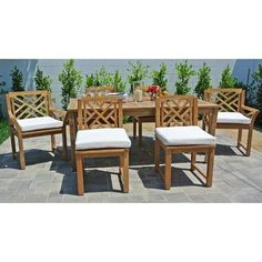 Willow Creek Designs Monterey 7 Piece Dining Set Cushion Color: Hardwood Crimson