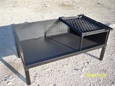 A sturdy steel table for burning wood or charcoal that holds either 2 dutch ovens or a dutch oven and a grill. Excellant for tailgating.