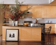 Like the clean look of the cabinets and large counter/island. (From ElleDecor)