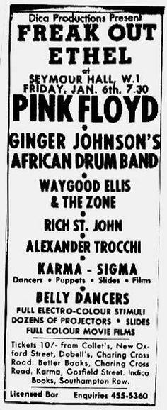 afiche del 6 de enero de 1967, Seymour Hall London Freak Out Ethel