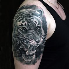 c50718f18faac Black Tiger | Black Tiger Shoulder Tattoo ~ Tattoo Geek - Ideas for best tattoos  Great