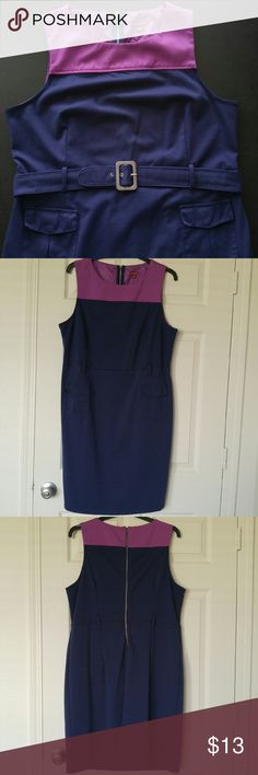 """Classic Navy & Fuschia Sheath Dress w/ Belt * Very cute, a classic professional look! * Two functional pockets on front * Exposed back zipper * Some pilling; pre-loved condition * True to size; 40"""" waist * Medium weight polyester with stretch * From a smoke-free and pet-free home Merona Dresses Midi"""