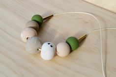 7 Beads Olive Green and Pink Australian by sheerjoybyivona on Etsy
