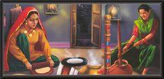 Painting depicting rural women of Punjab, Pakistan. Indian Women Painting, Indian Art Paintings, Indian Artist, Love Painting, Woman Painting, Punjab Culture, Phad Painting, Rajasthani Painting, Oil Pastel Drawings