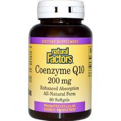 อาหารเสริม coq10 ยี่ห้อ Natural Factors, Coenzyme Q10, 200 mg, 60 Softgels
