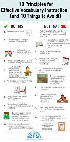 Infographic: 10 Principles for Effective Vocabulary Instruction: This infographic provides a list 10 principles (and 10 things to avoid!) for effective vocabulary instruction. The tips are easily adapted for pre-K and beyond. Vocabulary Strategies, Vocabulary Instruction, Teaching Vocabulary, Teaching Language Arts, Vocabulary Activities, Teaching Strategies, Teaching Reading, Speech And Language, Teaching English