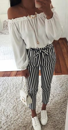 2018 new Autumn Black and White Casua Belt Striped Pants Women fashion – rricd., Spring Outfits, 2018 new Autumn Black and White Casua Belt Striped Pants Women fashion – rricdress. Casual Summer Outfits For Teens, Summer Outfit For Teen Girls, Black And White Outfits For Teens, Cute Spring Outfits, Tumblr Summer Outfits, Winter Outfits, Black And White Pants, Spring Fashion Outfits, Girls Wear
