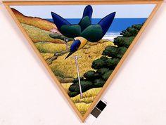 Poleline Kotare III by DonBinney, NZ. Acrylic & oilstick on paper (2002).