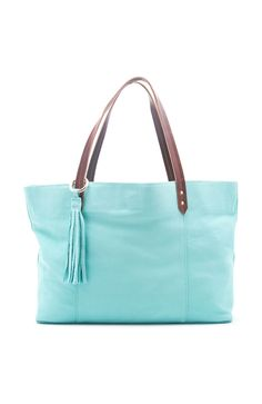 Aqua Leather Tote