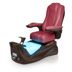 Infinity pedi-spa shown in Burgundy Ultraleather cushion, Mocha base, Aurora LED Color-Changing bowl (shown in blue)