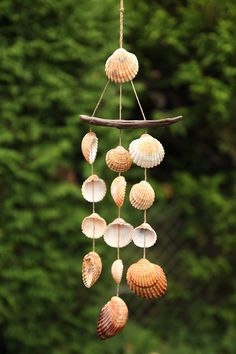 Maritime shell mobile for the garden, brings the beach feeling home / . - Maritime shell mobile for the garden, brings the beach feeling home / maritime seashell mobile for y - Seashell Painting, Seashell Art, Seashell Crafts, Sea Crafts, Nature Crafts, Diy Home Crafts, Baby Crafts, Seashell Wind Chimes, Diy Wind Chimes