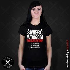 """Damski T-shirt ze śmiesznym nadrukiem - """"Śmierć Wrogom Polszczyzny - Za gramatykę, Za ortografię, Za kolokwializmy"""". Masz znajomą polonistkę? A może po prostu kogoś kogo rażą błędy językowe / ortograficzne? Ta koszulka będzie idealnym prezentem dla każdego gramatycznego na..... nauczyciela ;)  https://creativepatology.cupsell.pl #poprawnapolszczyzna #ortografia #grammar #grammarnazi #koszulka #koszulki #śmieszne #t-shirt #znadrukiem #beka #Polski #parodia #Lol #polszczyzna #tshirt #na…"""