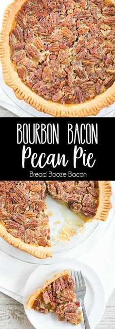 This Bourbon Bacon Pecan Pie is absolute bliss! A boozy, sweet, and salty dessert any good Southerner will adore! via @breadboozebacon