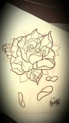 Neo traditional rose tattoo design