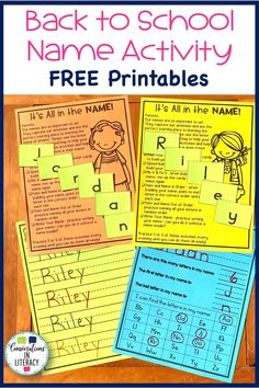 FREE Name activities for kindergarten and preschool!  Great for distance learning.  Easy to send home for parents to help with letter recognition.  Assessment is also included! #backtoschool #letterrecognition #letteridentification #abc #distancelearning #kindergarten #preschool #homeschool #elementary #conversationsinliteracy kindergarten, preschool, homeschool Fun Classroom Activities, Abc Activities, Word Work Activities, Kindergarten Freebies, Kindergarten Reading, Kindergarten Activities, Teaching Resources, Teaching Ideas, Common Core Curriculum