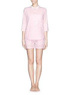 PERIGOT Stripe cotton pyjamas and bear set Holiday Essentials, Cotton Pyjamas, Spoon, White Shorts, Raincoat, Rompers, Bear, Silver, Color