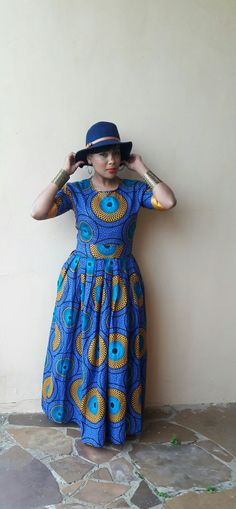 Blue and yellow African print dress from CultureCut Port Elizabeth, Four Square, Yellow, Blue, African, Summer Dresses, Fashion, Summer Sundresses, Moda