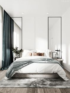 Grey Bedroom Ideas - Leading 10 Relaxing Grey Bedroom Ideas that You Will Certainly Adore. Top 10 Fascinating Grey Bedroom Ideas for Sweet Dreams. A Crisp and also Classy Design Bedroom with Tidy Blac Modern Bedroom Design, Contemporary Bedroom, Home Interior Design, Modern Minimalist Bedroom, Minimalist Design, Master Bedroom Minimalist, Modern Bedrooms, Small Modern Bedroom, Minimalist Decor