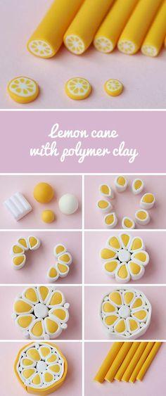 Polymer clay cane Lemon DIY | Лепим из полимерной глины кейн «Лимон»