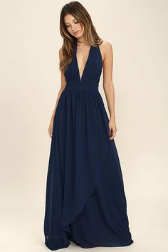 Lulus Exclusive! You'll get looks everywhere you go in the Stop and Stare Navy Blue Halter Maxi Dress! Lightweight chiffon shapes the plunging halter bodice with an open back, and tying neckline. A banded waist sits atop a full, wrapping maxi skirt. Hidden back zipper/clasp.