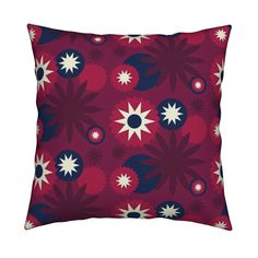 Catalan Throw Pillow featuring Starry Night in Cranberry by thepinkhome | Roostery Home Decor